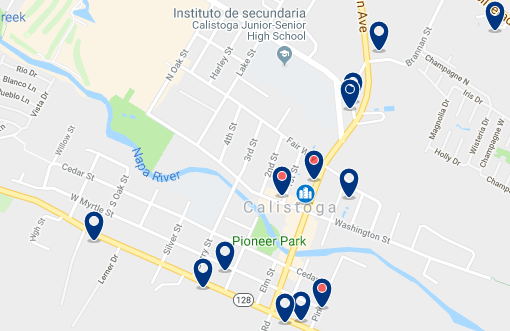 Accommodation in Calistoga – Click on the map to see all available accommodation in this area