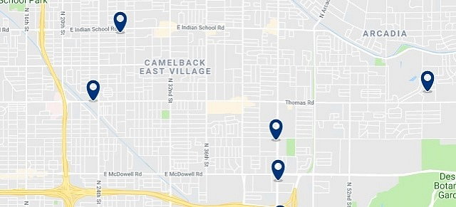 Camelback East Village - Click on the map to see all accommodation in this area
