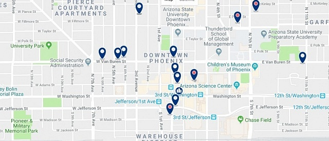 Accommodation in Downtown Phoenix - Click on the map to see all accommodation in this area