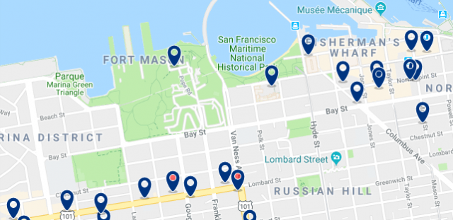 Accommodation in Fisherman's Wharf - Click on the map to see all available accommodation in this area