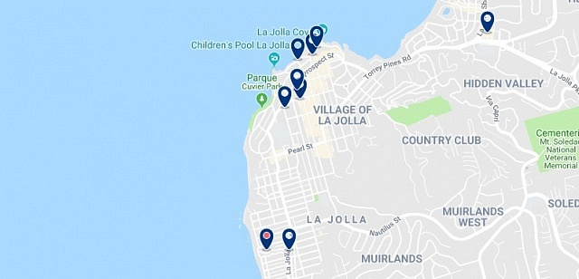 Accommodation in La Jolla - Click on the map to see all available accommodation in this area