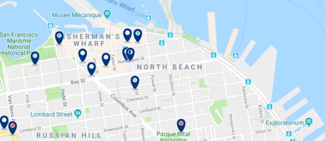 Alojamiento en North Beach - Clica sobre el mapa para ver todo el alojamiento en esta zona