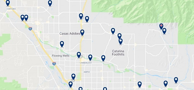 Accommodation in North Tucson - Click on the map to see all available accommodation in this area