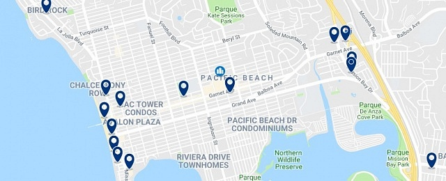 Accommodation in Pacific Beach - Click on the map to see all available accommodation in this area