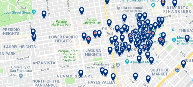 Alojamiento en Pacific Heights - Clica para ver todo el alojamiento en esta zona