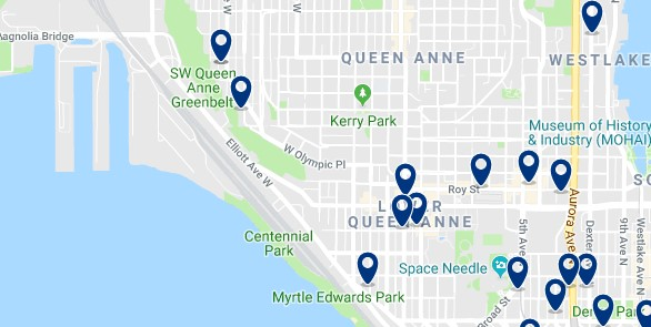 Accommodation in Queen Anne - Click on the map to see all available accommodation in this area