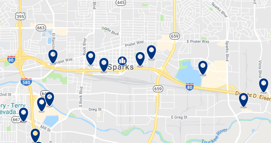 Accommodation in Sparks– Click on the map to see all available accommodation in this area