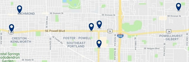 Accommodation in Southeast Portland - Click on the map to see all available accommodation in this area