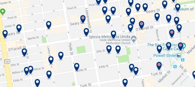 Alojamiento en Tenderloin - Clica sobre el mapa para ver todo el alojamiento en esta zona