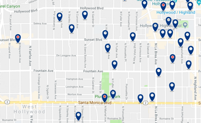 Accommodation in West Hollywood – Click on the map to see all available accommodation in this area