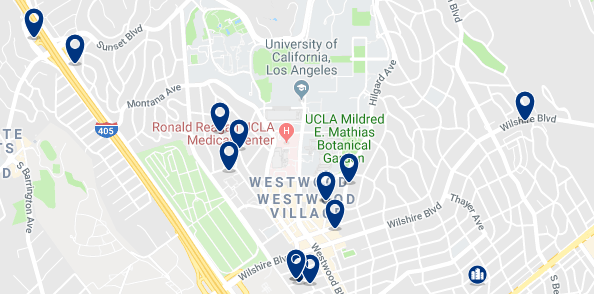 Accommodation in Westwood L.A - Click on the map to see all available accommodation in this area