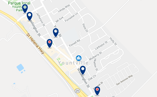 Accommodation in Yountville – Click on the map to see all available accommodation in this area