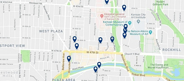 Accommodation near Country Club Plaza - Click on the map to see all accommodation in this area