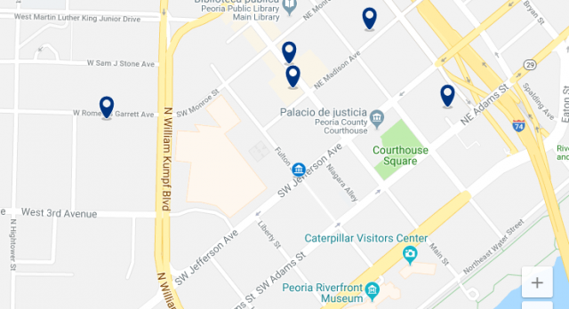 Accommodation near Peoria Civic Center – Click on the map to see all available accommodation in this area