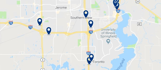 Accommodation near the University of Illinois Springfield - Click on the map to see all available accommodation in this area
