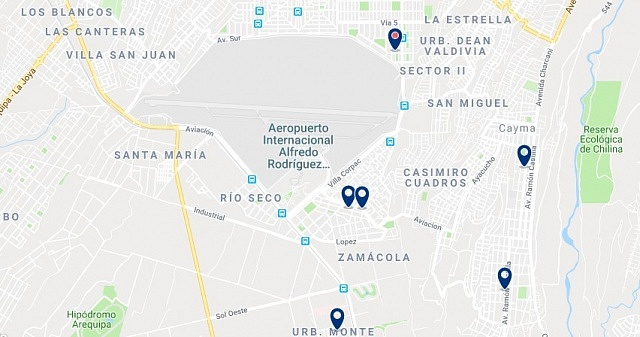 Accommodation near Arequipa's airport - Click on the map to see all accommodation in this area