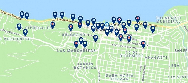 Accommodation in Bariloche's City Center - Click on the map to see all available accommodation in this area