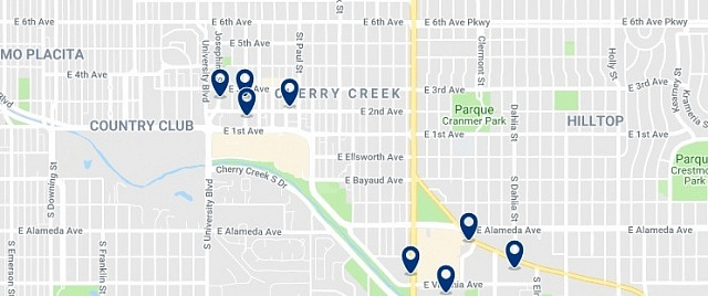 Accommodation in Cherry Creek - Click on the map to see all available accommodation in this area