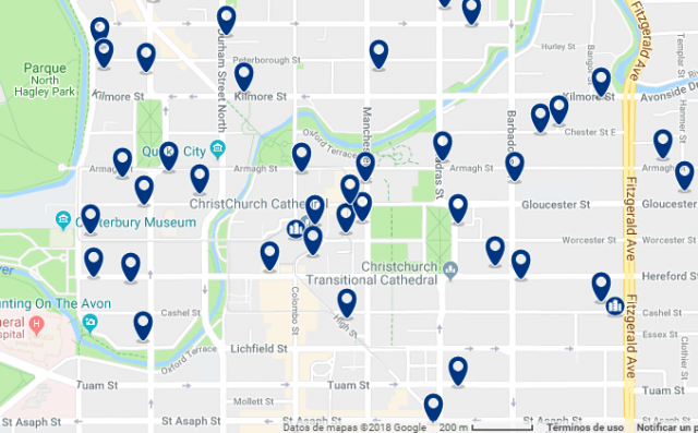 Accommodation in Christchurch City Centre – Click on the map to see all accommodation in this area