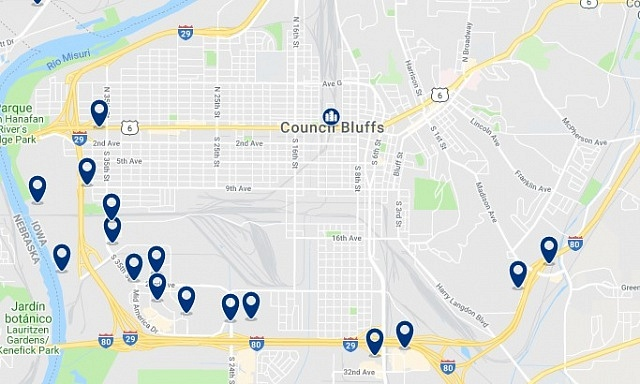 Accommodation in Council Bluffs - Click on the map to see all available accommodation in this area