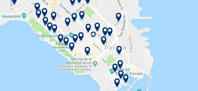Accommodation in Darwin CBD - Click on the map to see all available accommodation in this area
