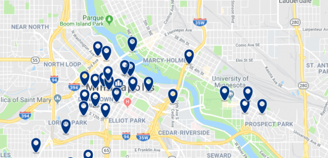 Accommodation in Dinkytown - Click on the map to see all available accommodation in this area