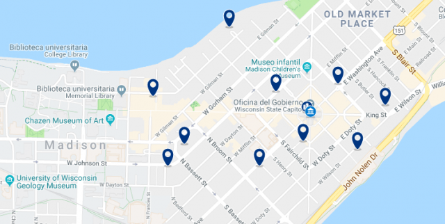 Accommodation in Downtown Madison – Click on the map to see all available accommodation in this area