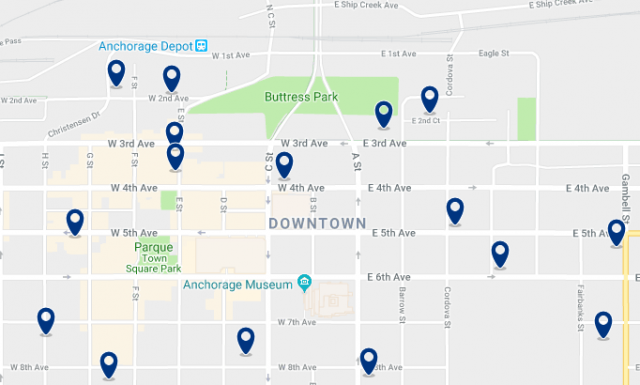 Accommodation in Downtown Anchorage – Click on the map to see all available accommodation in this area