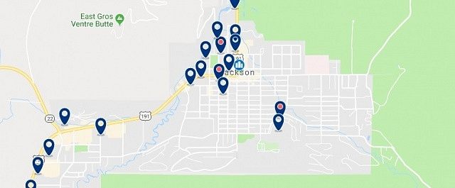 Accommodation in Jackson Hole - Click on the map to see all available accommodation in this area