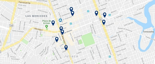 Accommodation in Juliaca - Click on the map to see all accommodation in this area