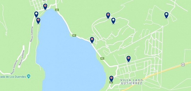 Accommodation in Lago Gutiérrez - Click on the map to see all available accommodation in this area