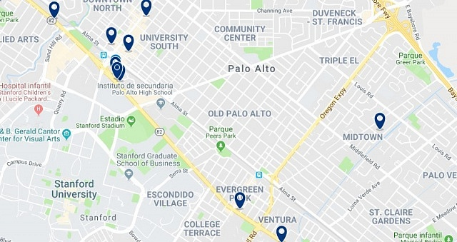 Accommodation in Palo Alto - Click on the map to see all available accommodation in this area
