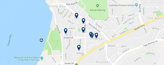 Accommodation in Parap - Click on the map to see all available accommodation in this area