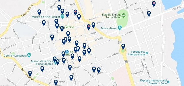 Accommodation in Puno Centro - Click on the map to see all accommodation in this area