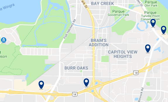 Accommodation in West Madison – Click on the map to see all available accommodation in this area