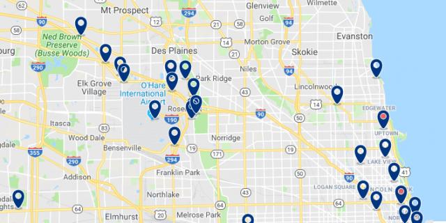 Alojamiento cerca del O'Hare International Airport - Clica sobre el mapa para ver todo el alojamiento en esta zona