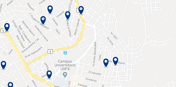 Accommodation near Sucre's bus station - Click on the map to see all available accommodation in this area