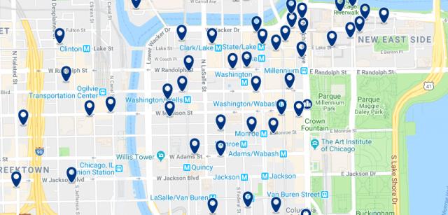 Alojamiento en Chicago Loop - Clica sobre el mapa para ver todo el alojamiento en esta zona