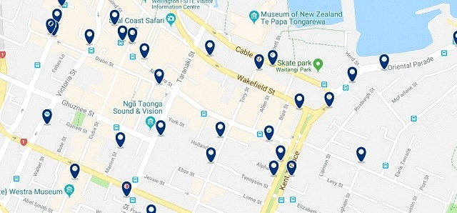 Accommodation in Courtney Place - Click on the map to see all available accommodation in this area
