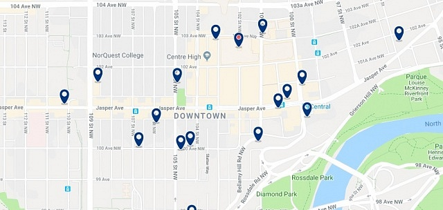 Accommodation in Downtown Edmonton - Click on the map to see all available accommodation in this area