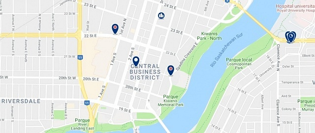Accommodation in Downtown Saskatoon - Click on the map to see all available accommodation in this area