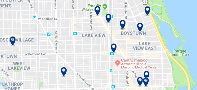 Accommodation in Lakeview & Boystown - Click on the map to see all available accommodation in this area