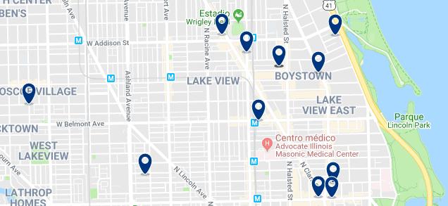 Alojamiento en Lakeview & Boystown - Clica sobre el mapa para ver todo el alojamiento en esta zona