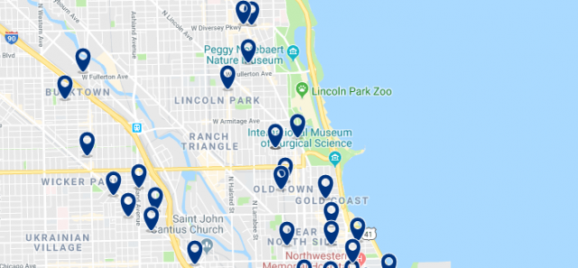 Alojamiento en Lincoln Park - Clica sobre el mapa para ver todo el alojamiento en esta zona
