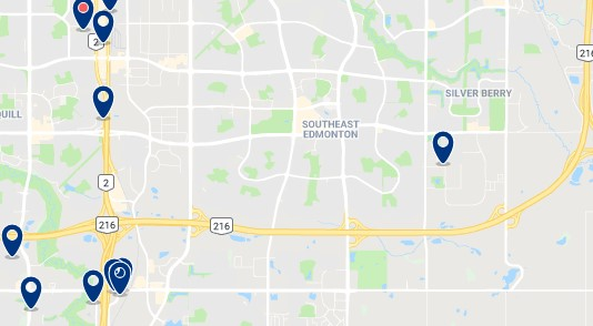 Accommodation in Southeast Edmonton - Click on the map to see all available accommodation in this area
