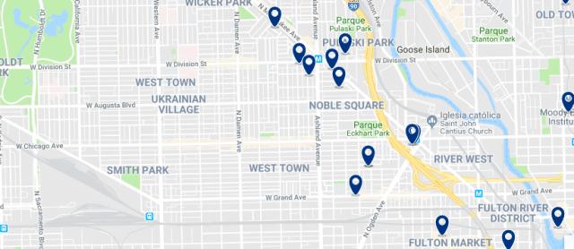 Alojamiento en West Town - Clica sobre el mapa para ver todo el alojamiento en esta zona
