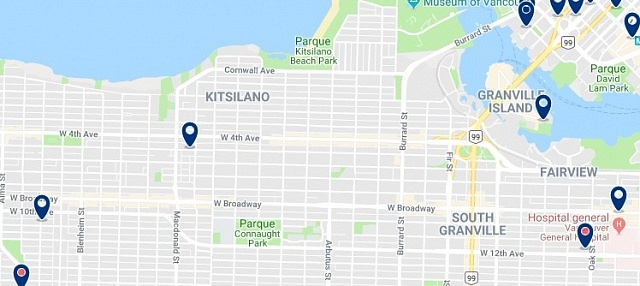Accommodation in Kitsilano - Click on the map too see all available accommodation in this area