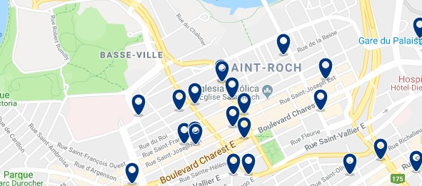 Accommodation in Saint-Roch - Click on the map to see all available accommodation in this area