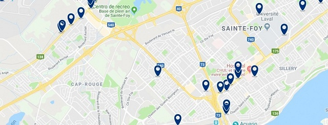 Accommodation in Sainte-Foy-Sillery - Click on the map to see all available accommodation in this area