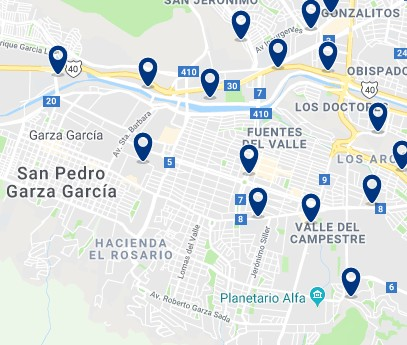 Accommodation in San Pedro Garza García – Click on the map to see all available accommodation in this area